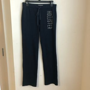 Hollister Sweat Pants Navy Blue Small Spellout